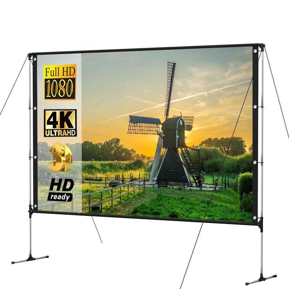 Portable Projector Screen With Stand Bracket -16:9 4k Ultra Hd Fast Folding