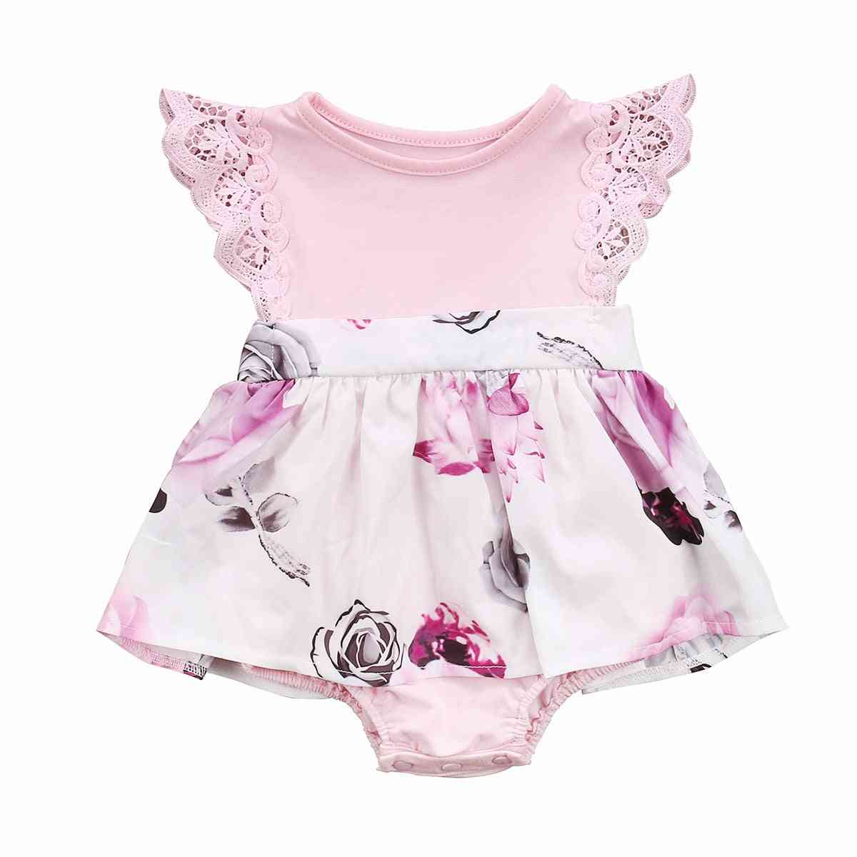 Floral Baby Girls Lace Romper & Dress Clothes Set