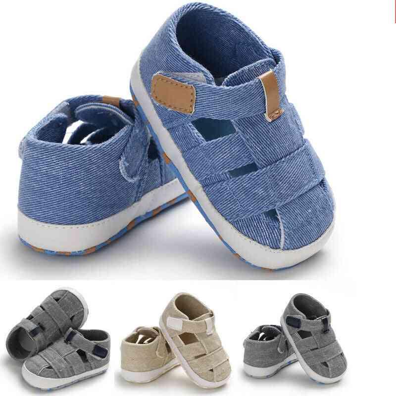 Hollow Soft Sole, Canvas Shoes-crib Prewalker Clogs