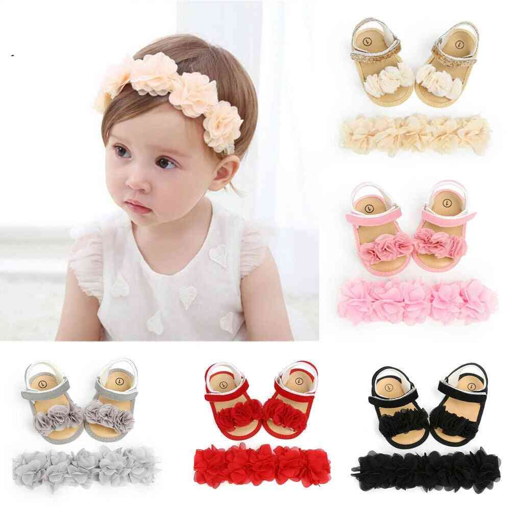 Baby Summer Clothing Newborn Kid, Girl Flower Sandals Shoes, Soft Sole, Hook Casual +headband Solid Set