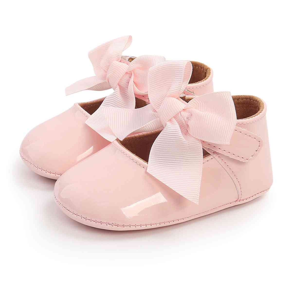 Baby Girl Baptism Shoes, Soft Sole Princess Flats With Cute Ribbon Bow, Non-slip