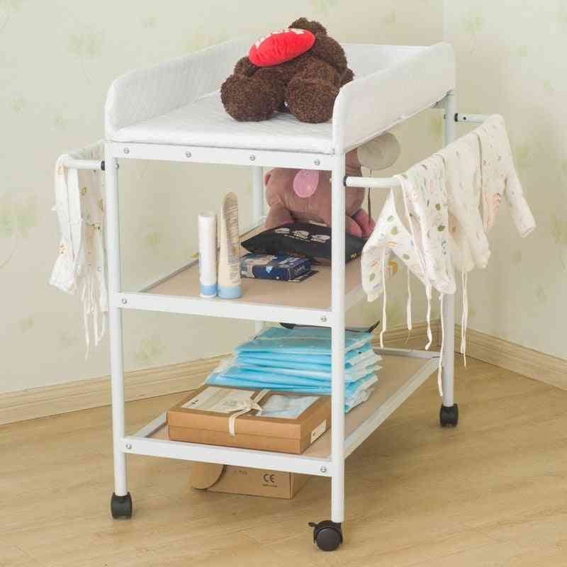 Portable And Movable Baby Diapering Nursing Table With Seat Belt