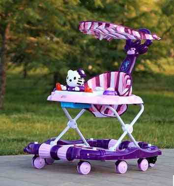 Baby Walker Young Child Car Rollover Multi-function Folding Rock Music Carriage