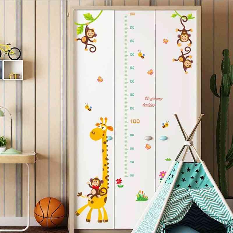 Cartoon Giraffe Pattern, Height Measure Wall Sticker Backdrop Rooms