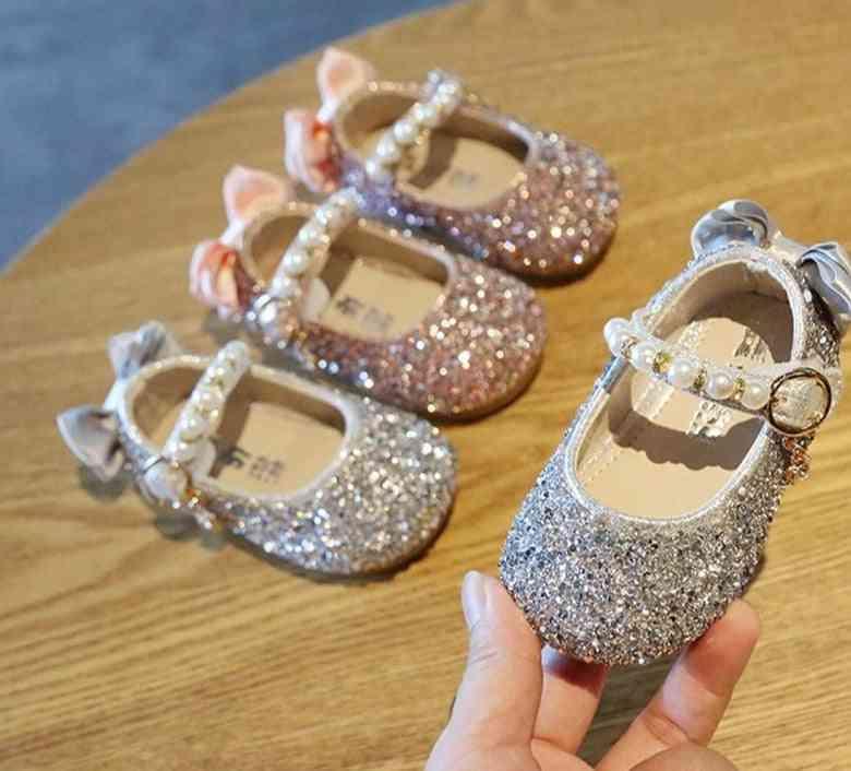 Girls Shoes, Pearls Flower Walking Sandels, For Princess Dress