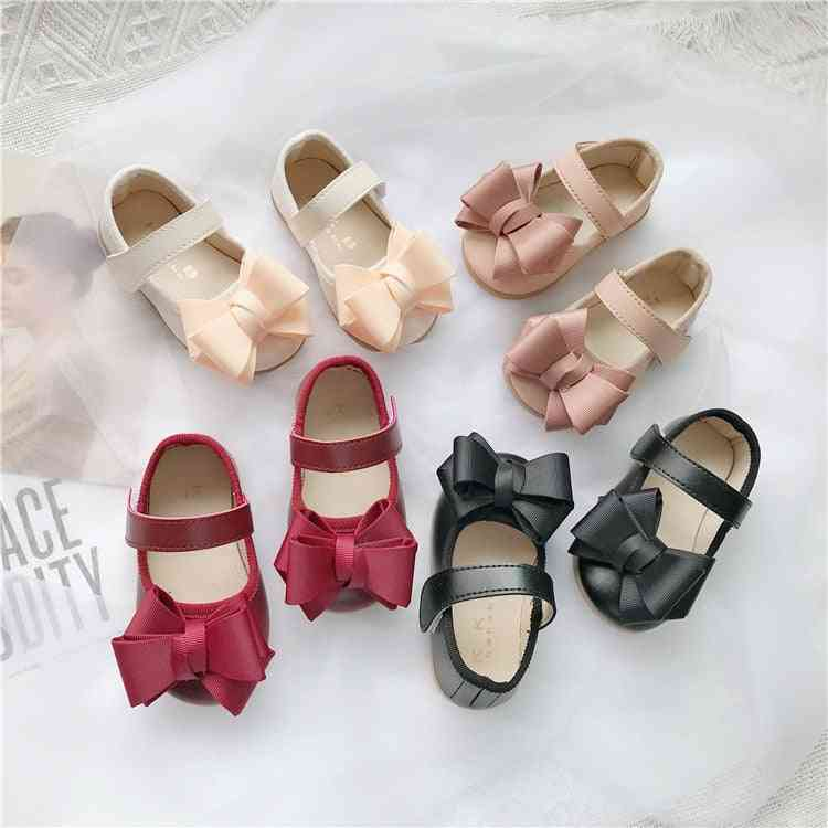 Baby Leather  Walking Shoes For Princess-butterfly Knotted Flat-soled Sandals