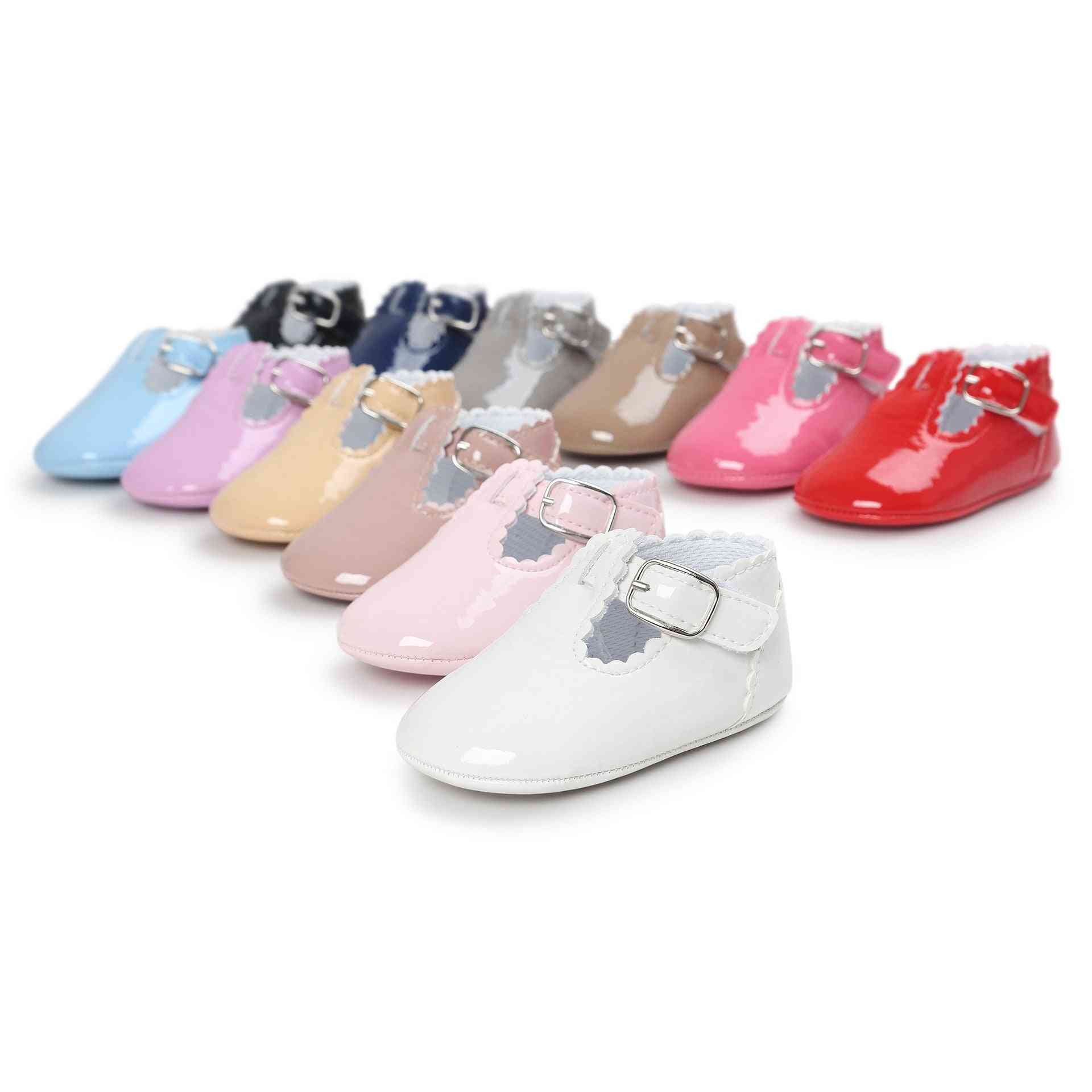 Pu Leather Newborn  Boy And Girl Moccasins, Soft Shoes