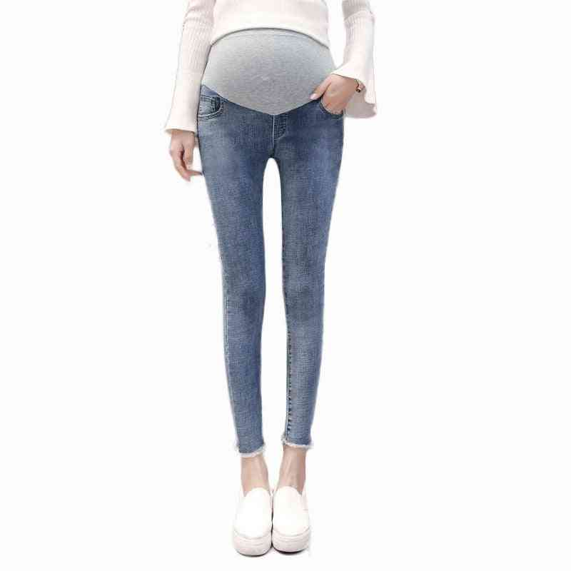 Stretch Washed Denim Maternity Jeans, Summer Fashion Pencil Trousers Clothes For Pregnant, Women Pregnancy Pants