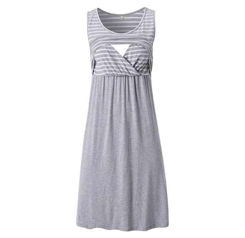 Women's Sleeveless Nursing / Stripe Maternity Dress- Breastfeeding Pregnancy Clothes