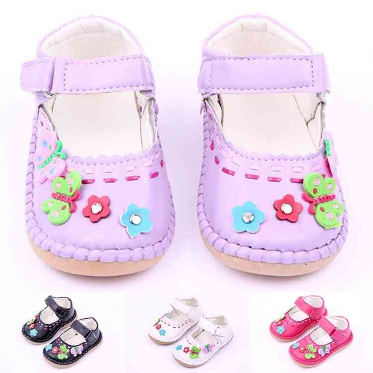 Pu Leather Flower Baby Girl Princess Shoes