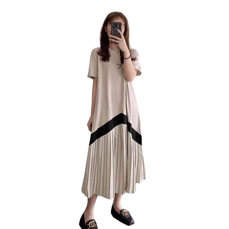 Women Nursing Shirts, Short Sleeve Striped Patchwork Maternity Lactation Dress