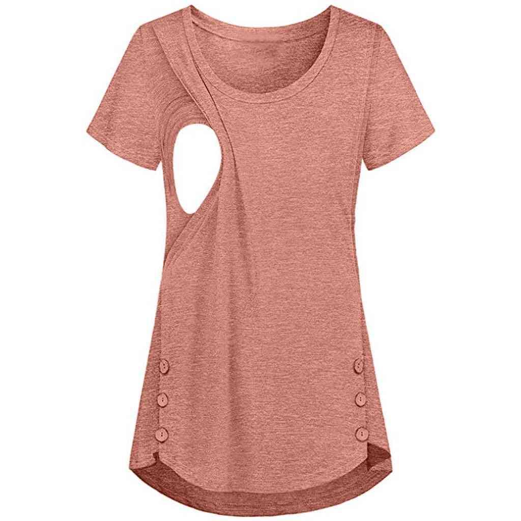 Women Feeding Button Clothing Short Sleeve, Maternity Nursing Top