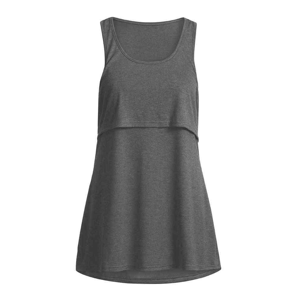 Women Maternity Loose, Pull-up Nursing Tank Tops-breastfeeding Clothing Shirts