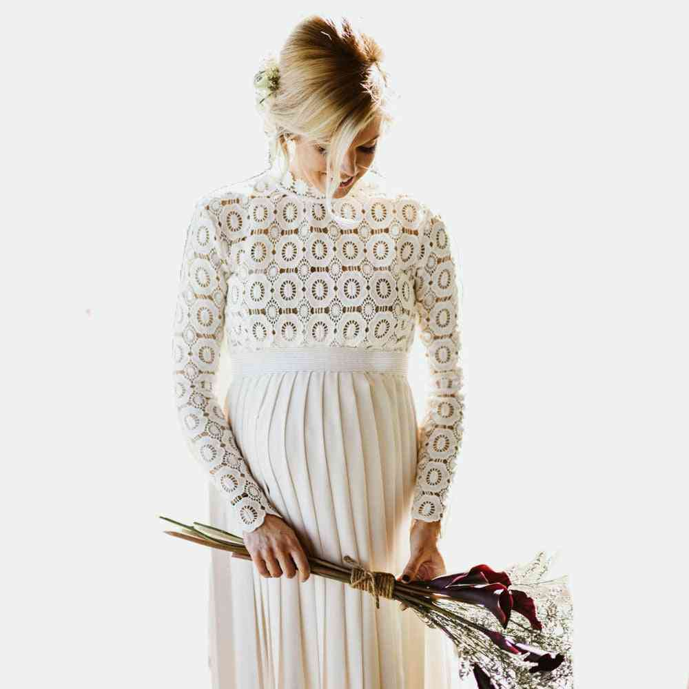 Long Maternity Shoot Dress- Pleated Pregnancy Photography Dresses