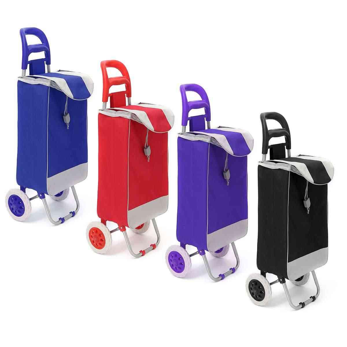 45l Foldable Shopping Trolley Bag -on Wheels