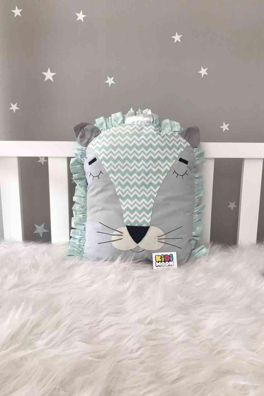 Jaju Baby Gray Mint Lion, Cradle Protection Decor Pillow
