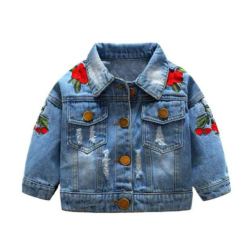 Outerwear Jeans Coat, Ripped Bebes Embroidery Denim Jackets For Baby &