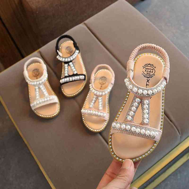 Summer Sandals Slip-on Pearl Crystal Single Princess Roman Shoes For Girl