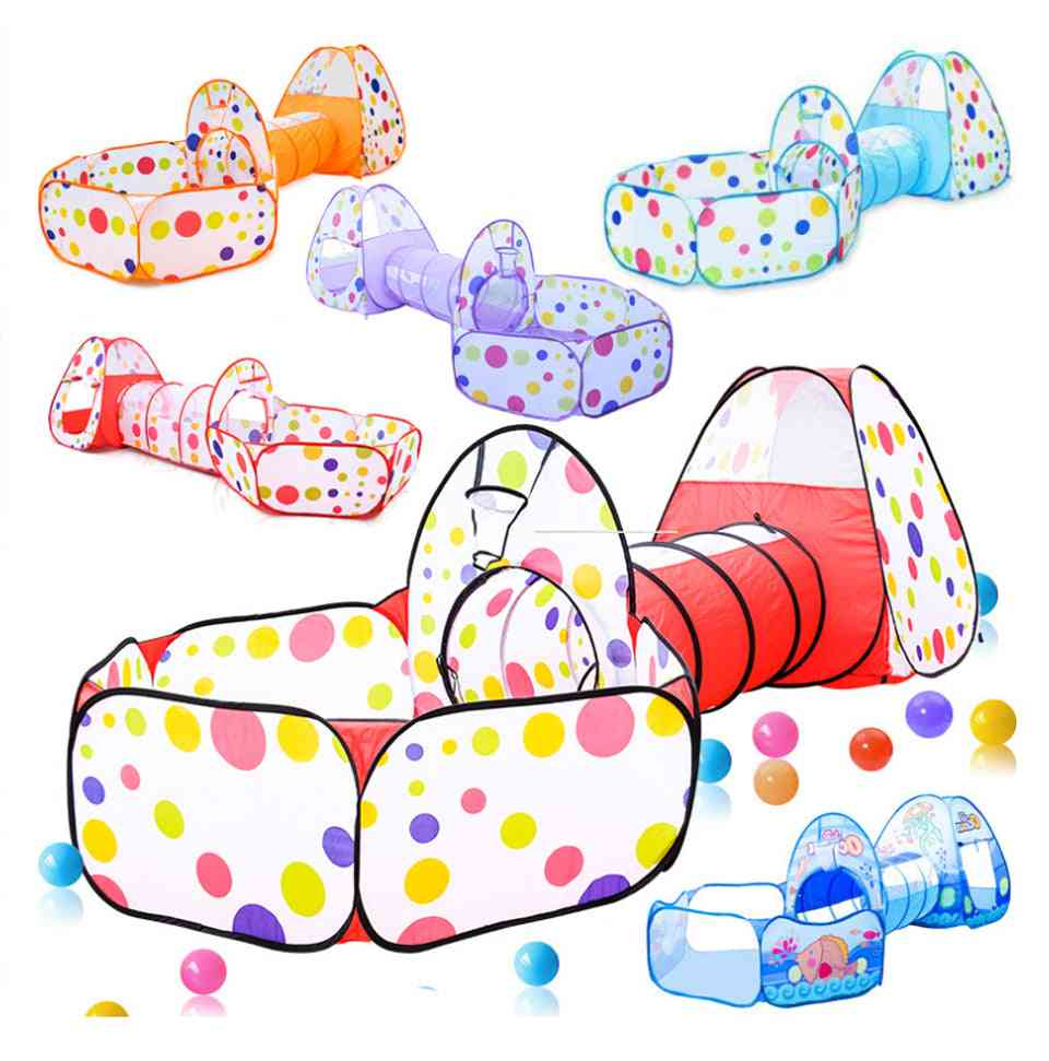 3 In 1 Portable Baby Playpen Ball Pool Play Yard Tent Tunnel For Indoor & Outdoor Fence With Basket