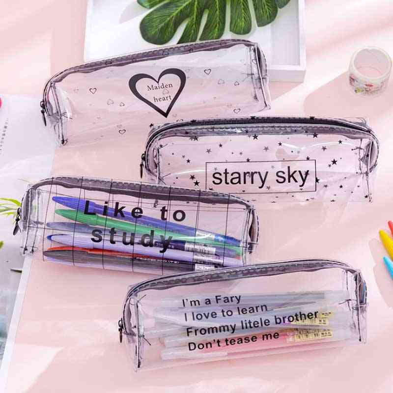Starry Sky Heart Pencil Case For-transparent Box