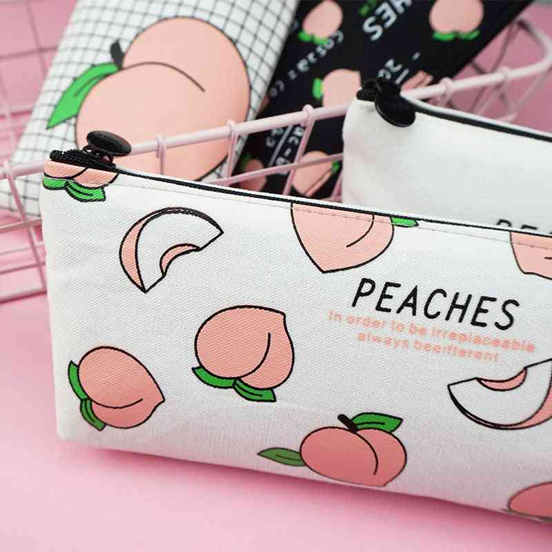 Cute Fruit Peach Pencil Casee For Girl, Stationery Canvas Pen Bag