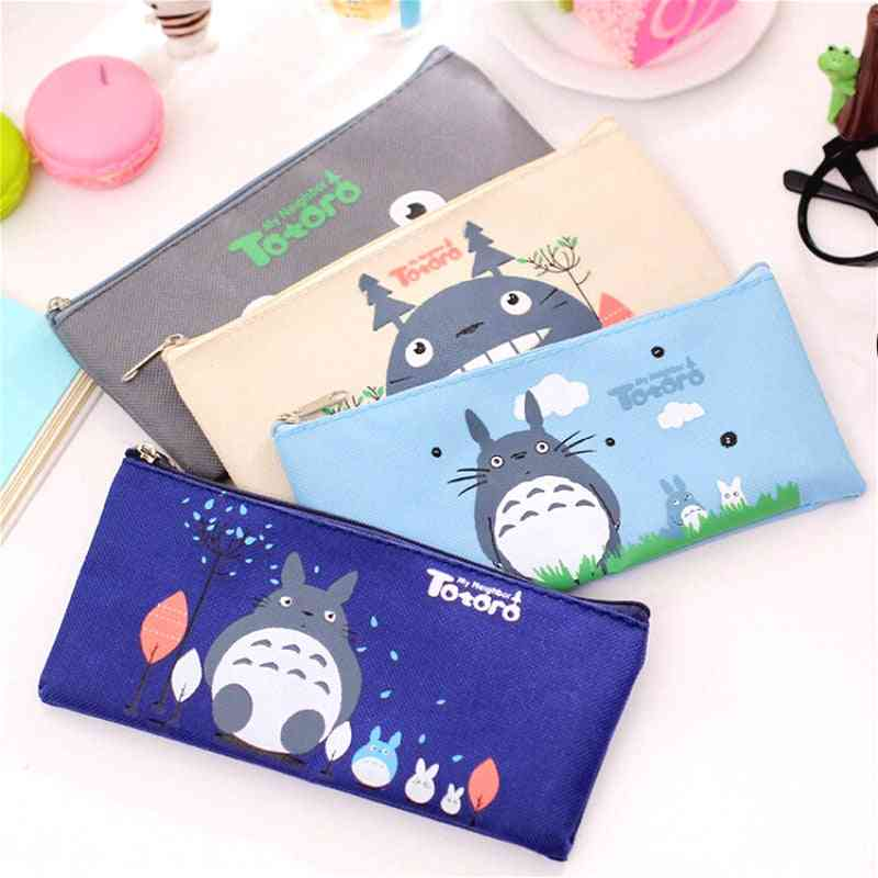 Kawaii Totoro Canvas Pencil Case, Creative Oxford Cloth Zipper