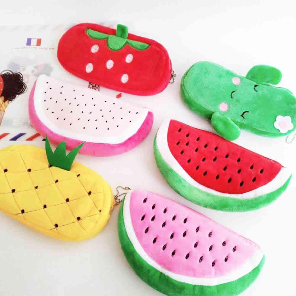 Cute Fruit Watermelon Cactus Plush Pencil Case, Cosmetic Bag For