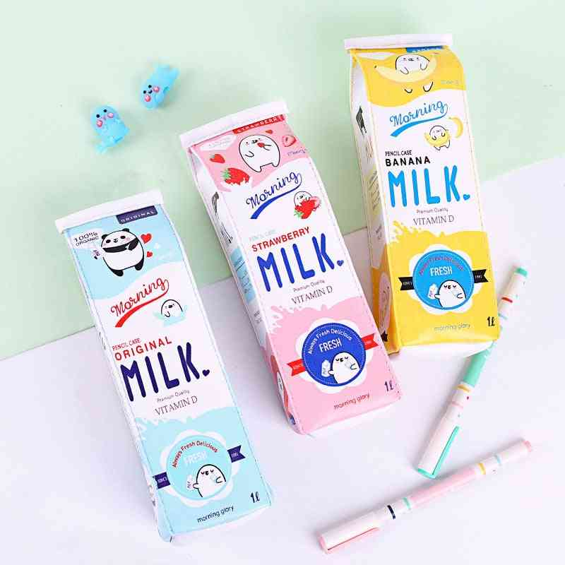 Cute Milk Shape Pen Case, Pu Waterproof Stationery Bag