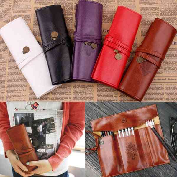 Roll Pu Leather Purse, Pouch, Makeup Pencil Case, Cosmetic Bag