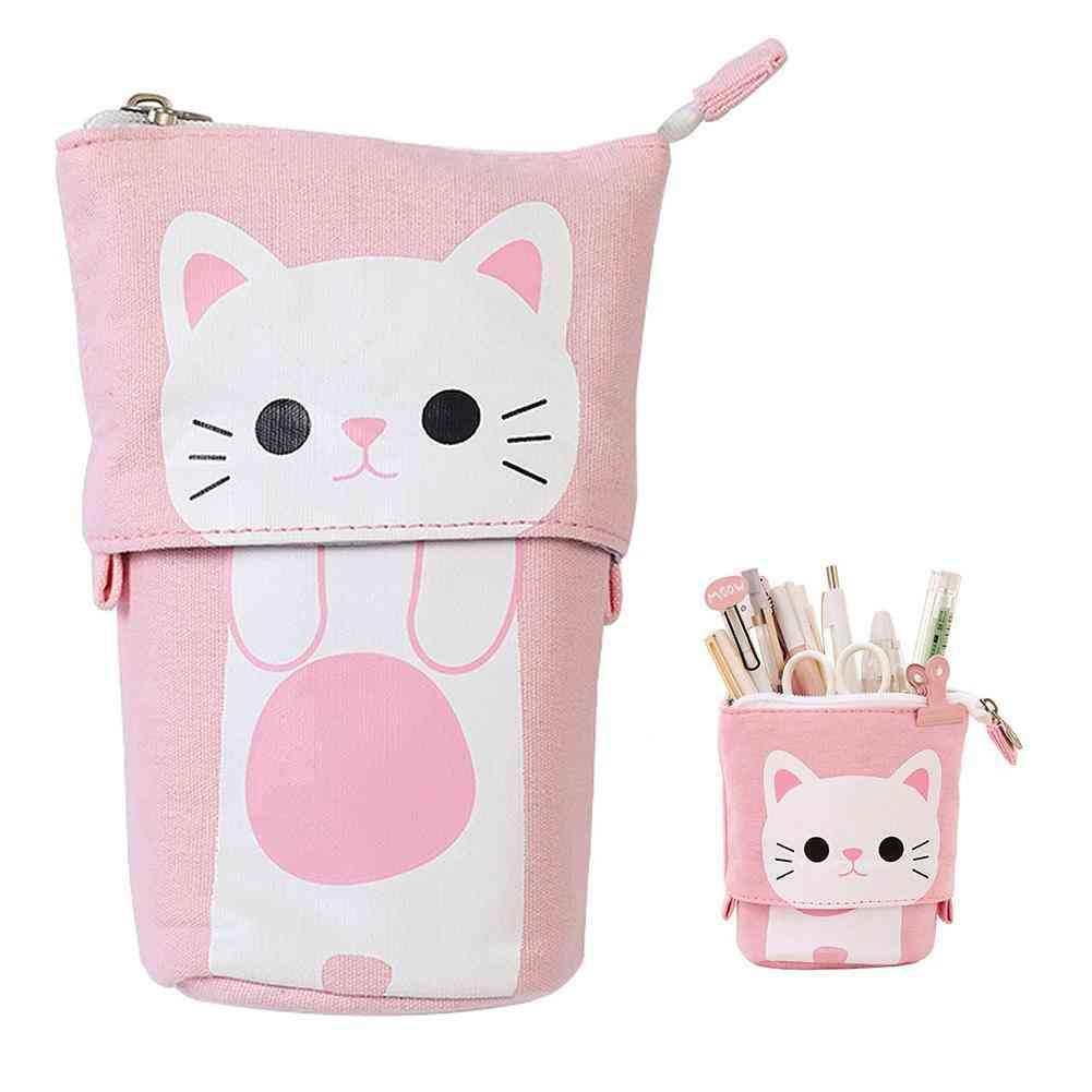 Cartoon Cute Cat Telescopic Pencil Pouch Bag, Stationery Pen Case Box