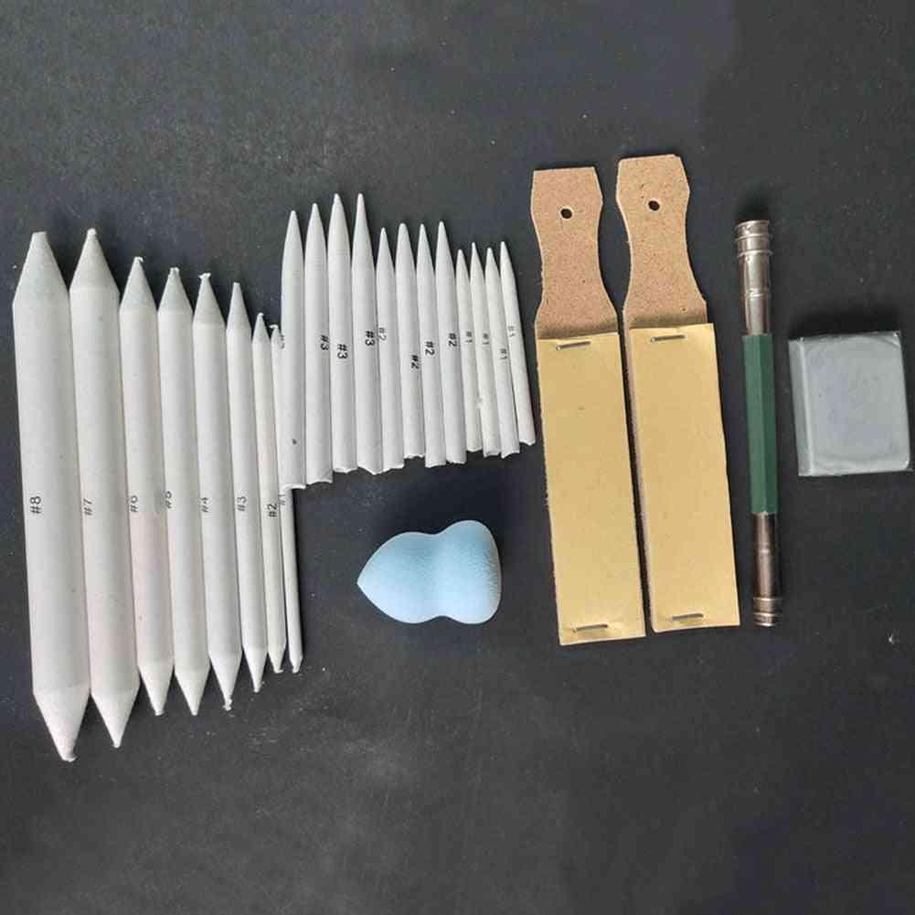 Pastel Sandpaper Pencil Set, Art Sketch Tools, Portable Smudge Stick Erasable Stump