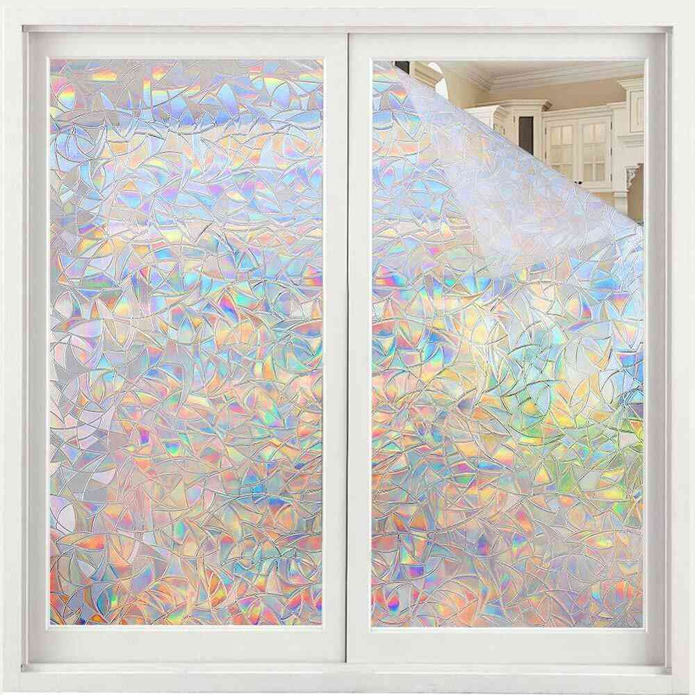 Window Film Rainbow Effect, Privacy Static Glass Sticker, Adhesive Heat Transfer, Vinyl On Removable Windows Bathroom