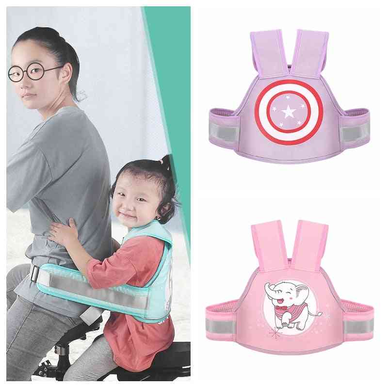 Children Back Hold Motorcycle Safety Seat Belt With Adjustable Harness