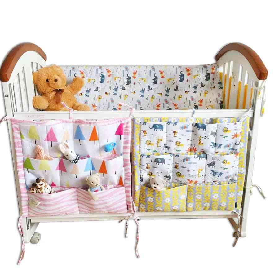 Baby Cot Bed- Rooms Nursery Hanging Storage Bag, Cotton Cartoon Newborn Crib Cot Organizer Kid Toy Diaper Pocket For Bedding Sets