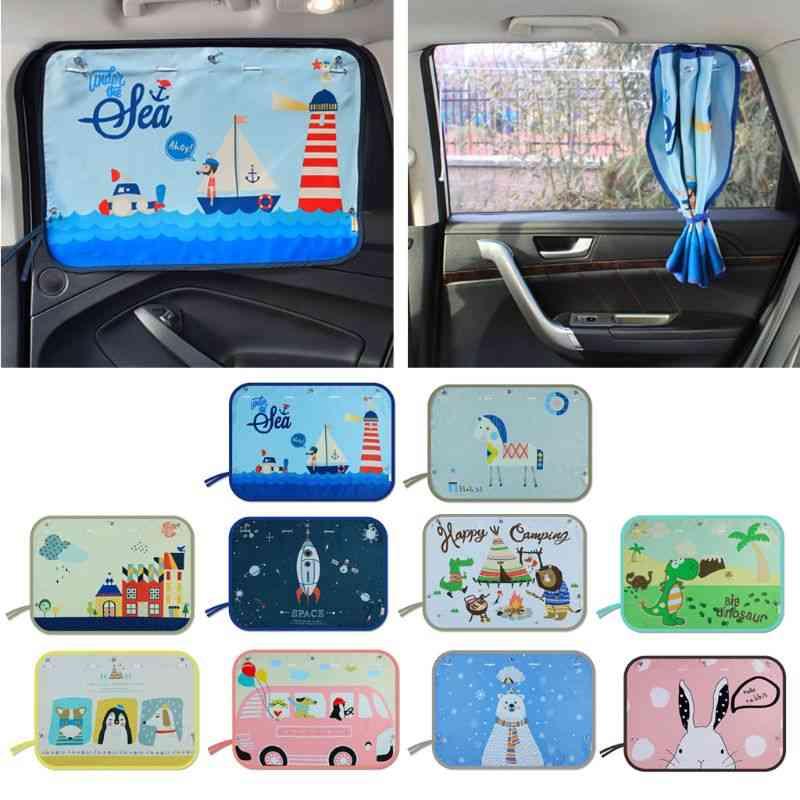 Car Side Window Sunshade Cartoon Curtain For