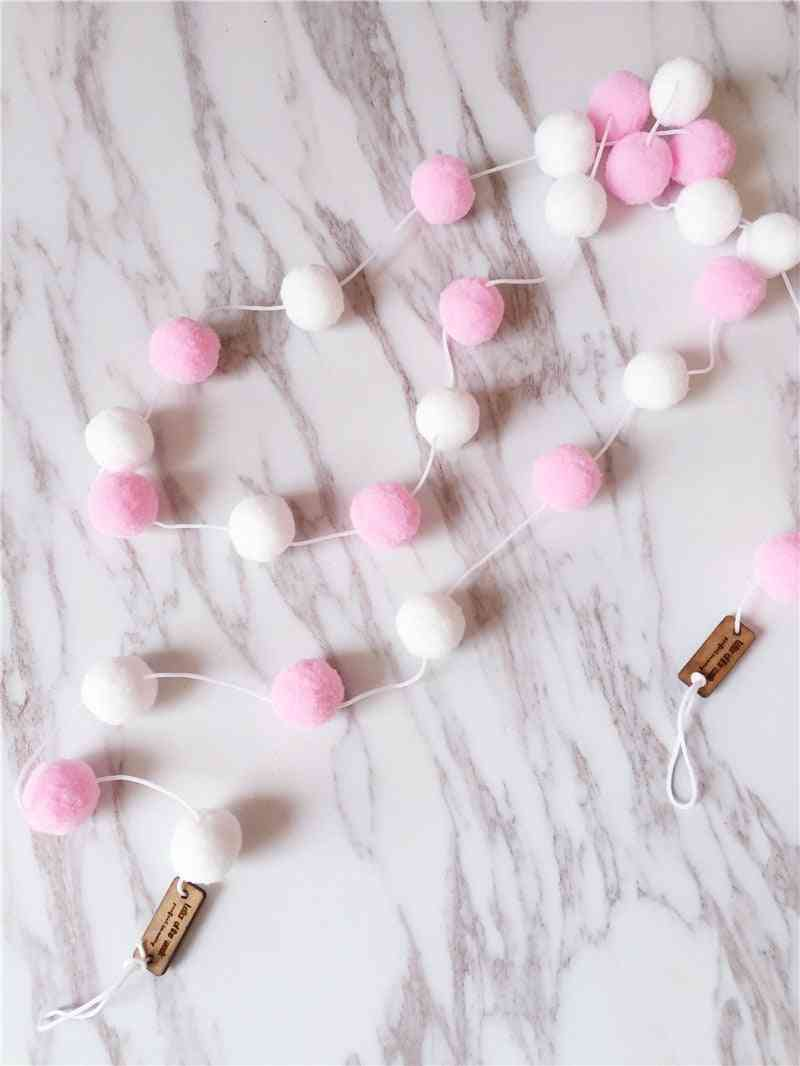 2m  Macaron Color Hair Ball, Banner Baby Room Decoration