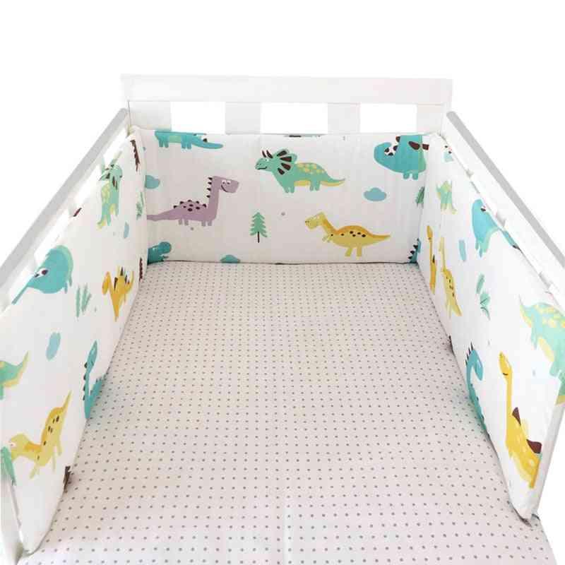 Newborn Baby Crib, Printed Cotton Linen Cot Bumper Bed Protector