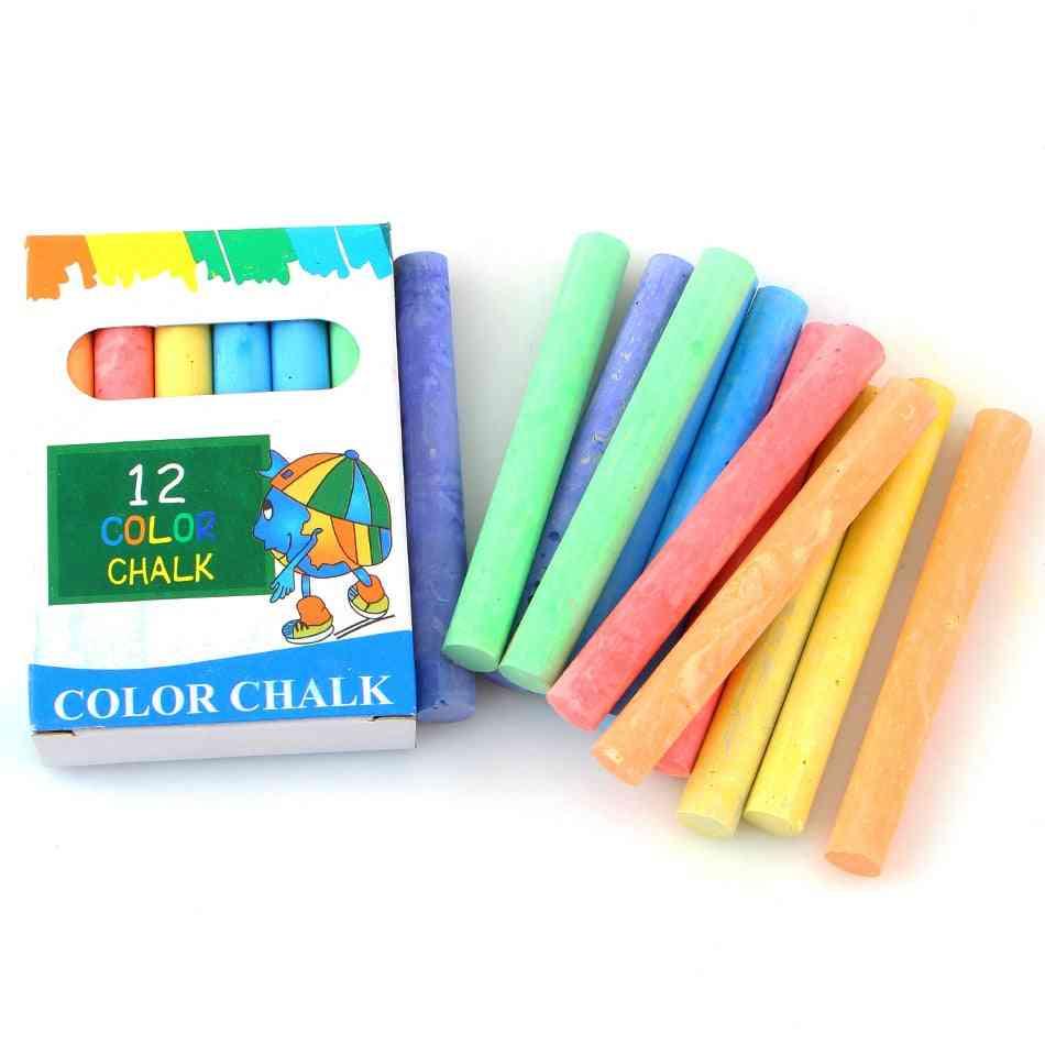 12pc Of Dustless Color Chalk For Blackboard