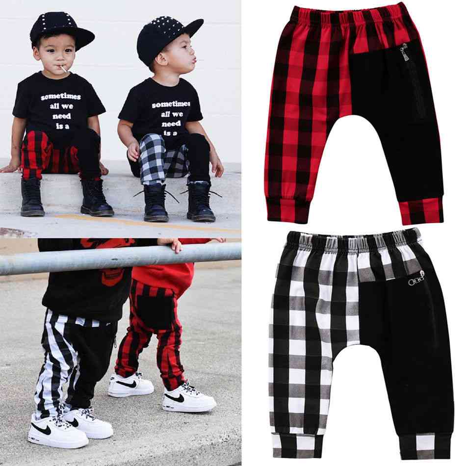 Fashion Plaid Bottom Pants, Panty Harem Trousers Casual For Toddler