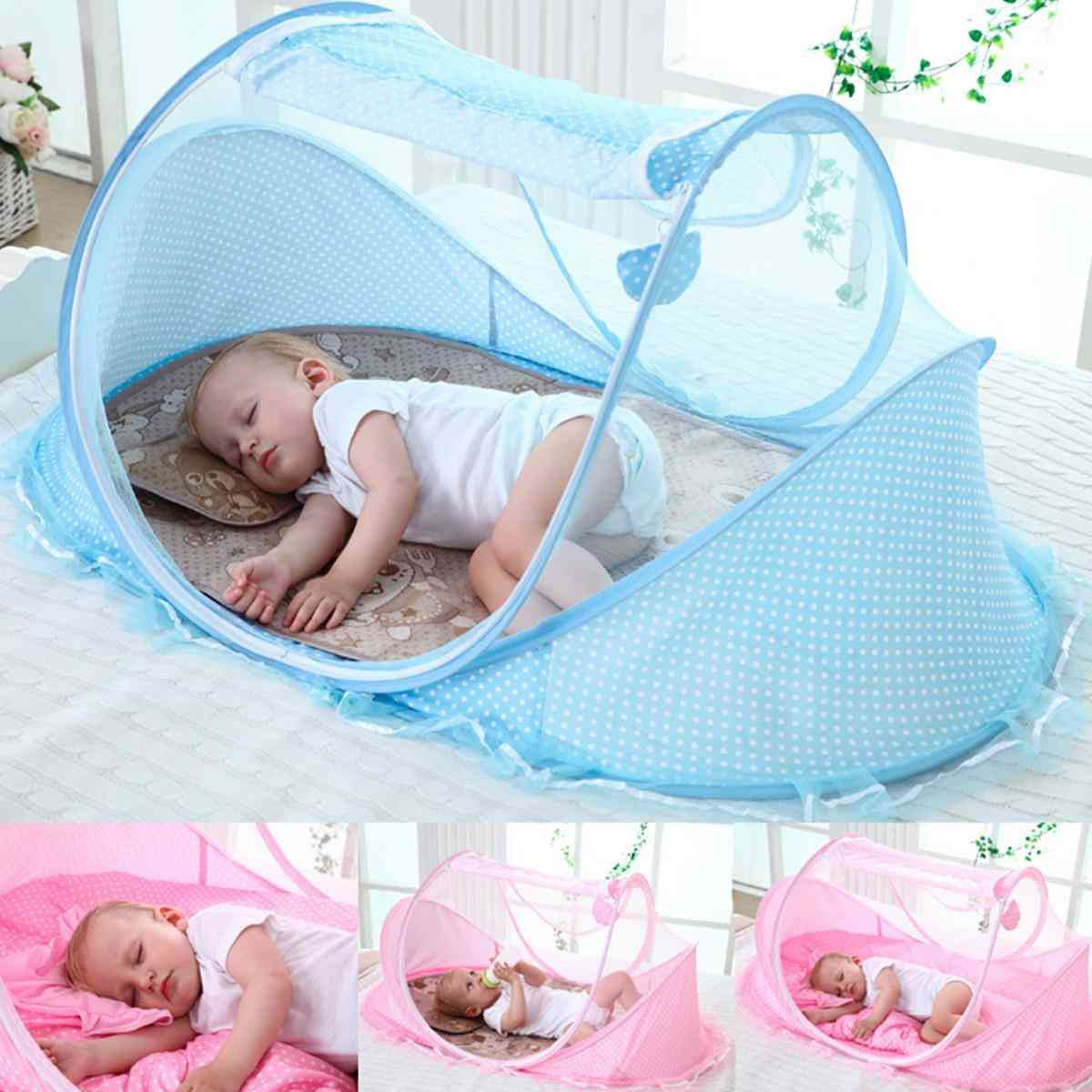 Breathable Mosquito Net With One Pillow For Baby Bed Crib
