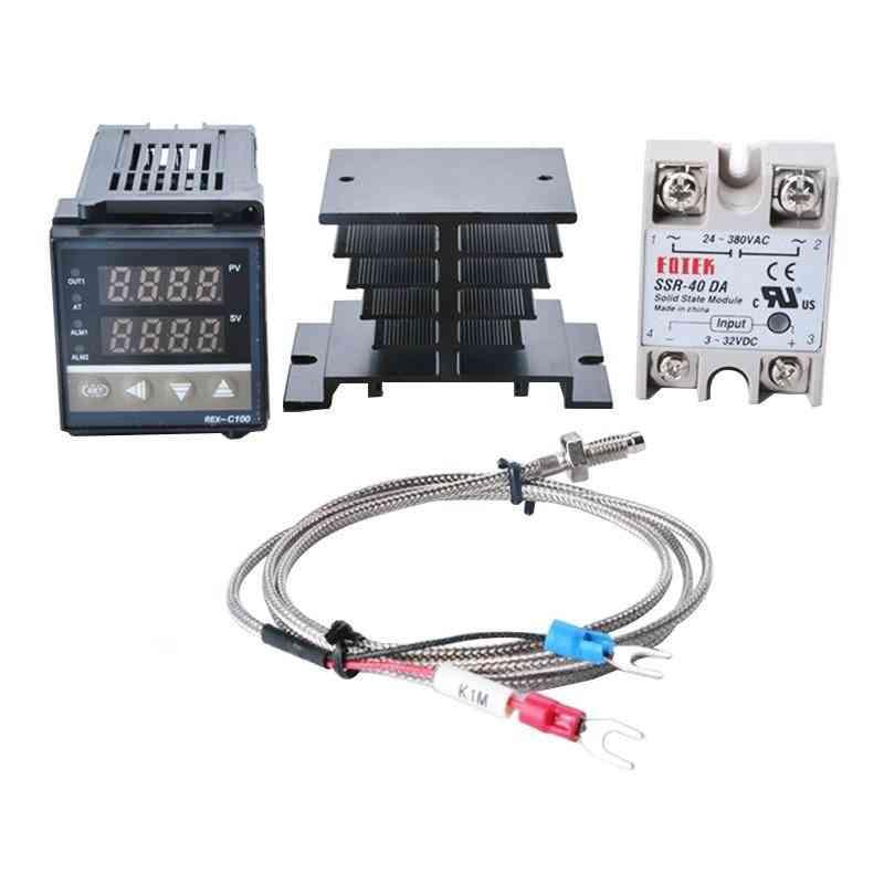 Digital Thermostat-40a Ssr Relay/k Thermocouple Probe/heat Sink