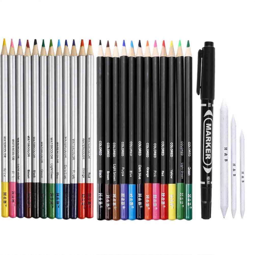 Drawing Pencils Set, Sketch Watercolor Metallic Oily Complete Beginner Kit