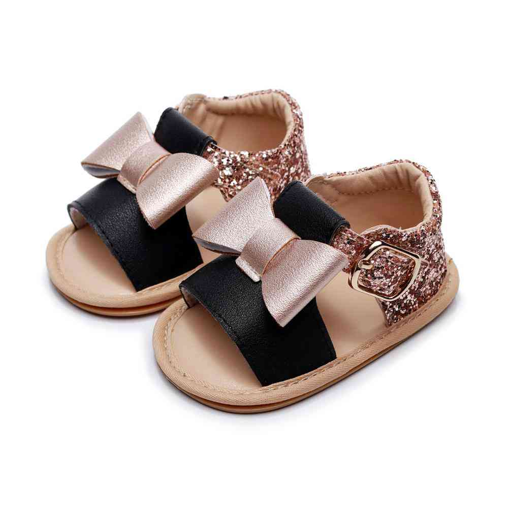 Summer Baby Crystal  Princess Sandals, Cute Big Bow Fancy Shiny Sequins Flat Shoes