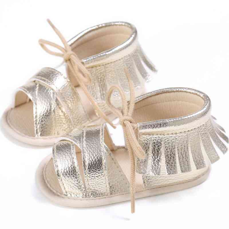 Fashion Newborn Baby Sandals, Cute Princess Tassel Infant Flat Lovey Lace Up Shoes