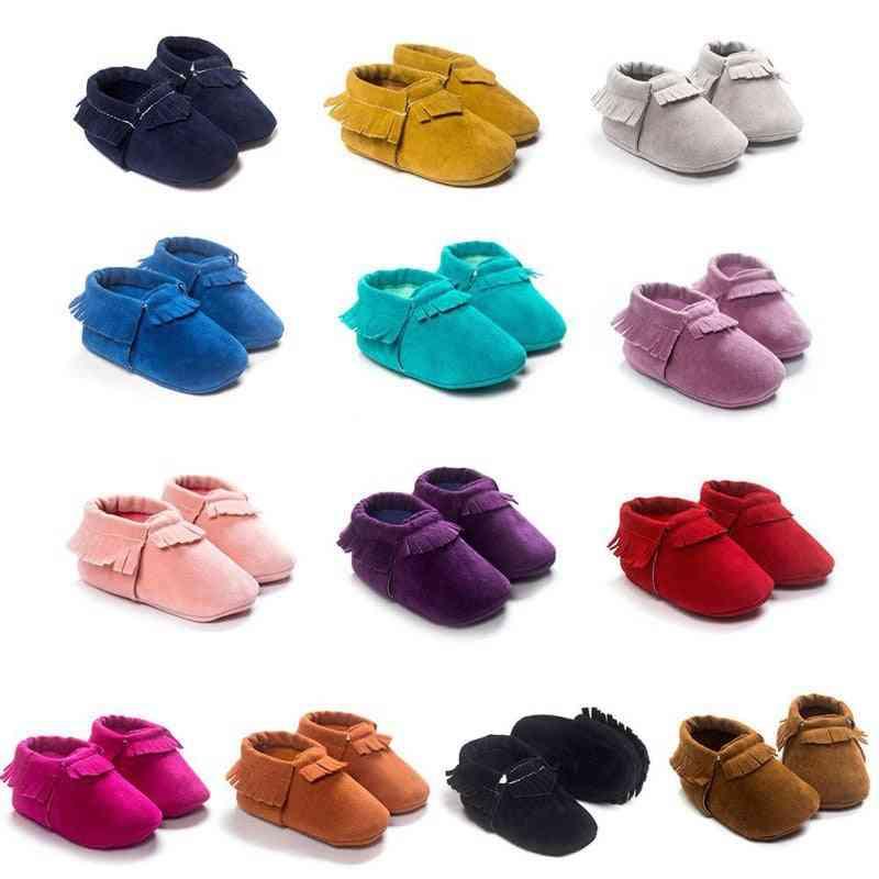 Newborn Tassel Shoes, Soft Sole Coral Velvet Baby Moccasins Shoe