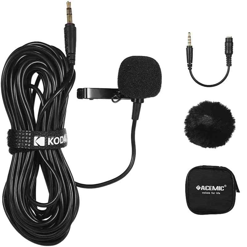 Lapel Clip-on, Single Head Microphone With 3.5mm Connector For Dslr/camcorder