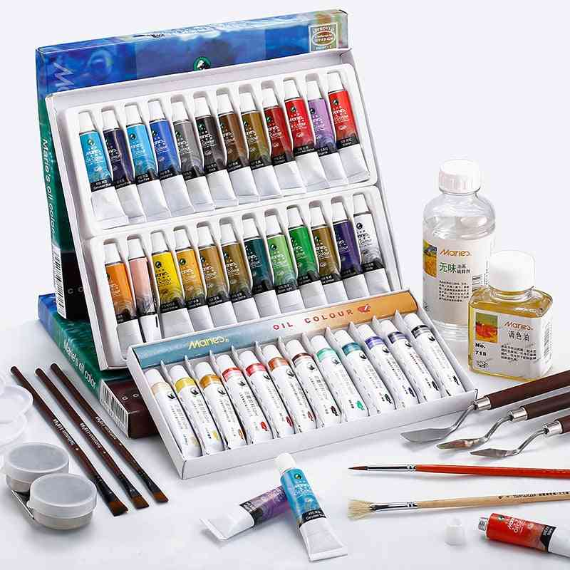 Oil Paints, Artists Aluminum Tube Drawing Hand School Stationery Art Supplies