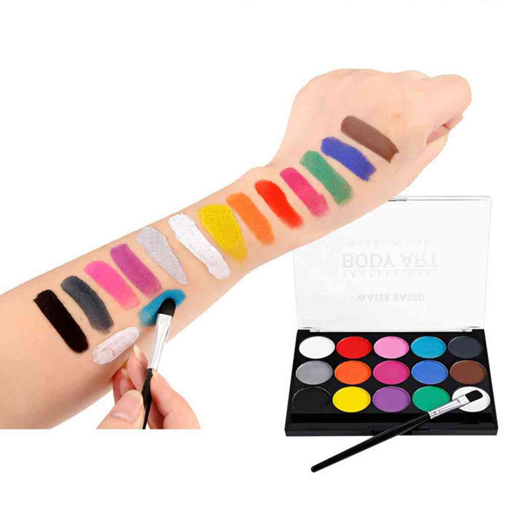 Washable Face/body Watercolor Paint And Brushes