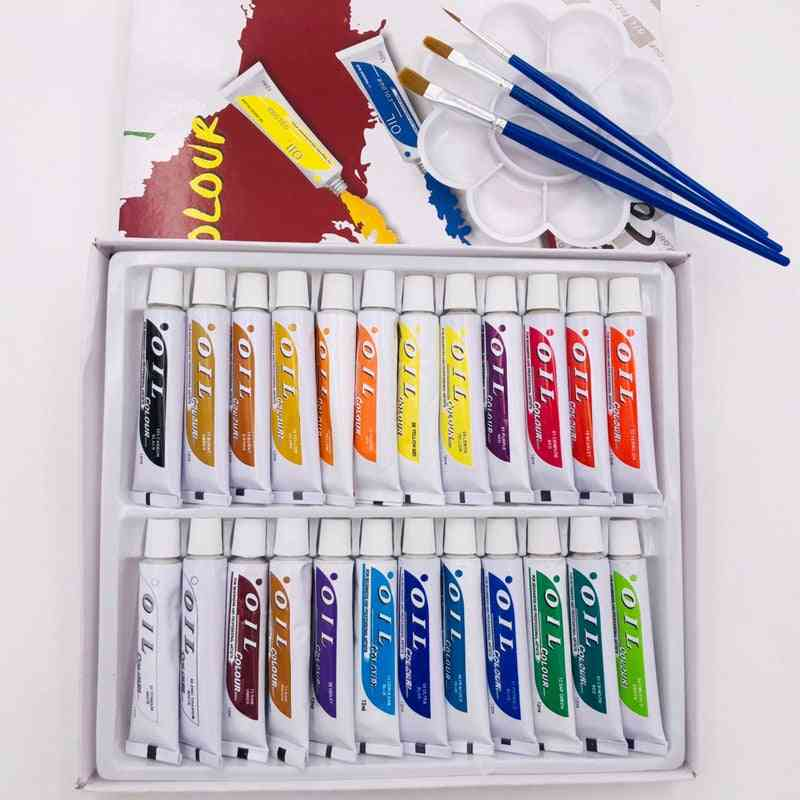 Professional Oil Paints, Drawing Brush And Tray Set