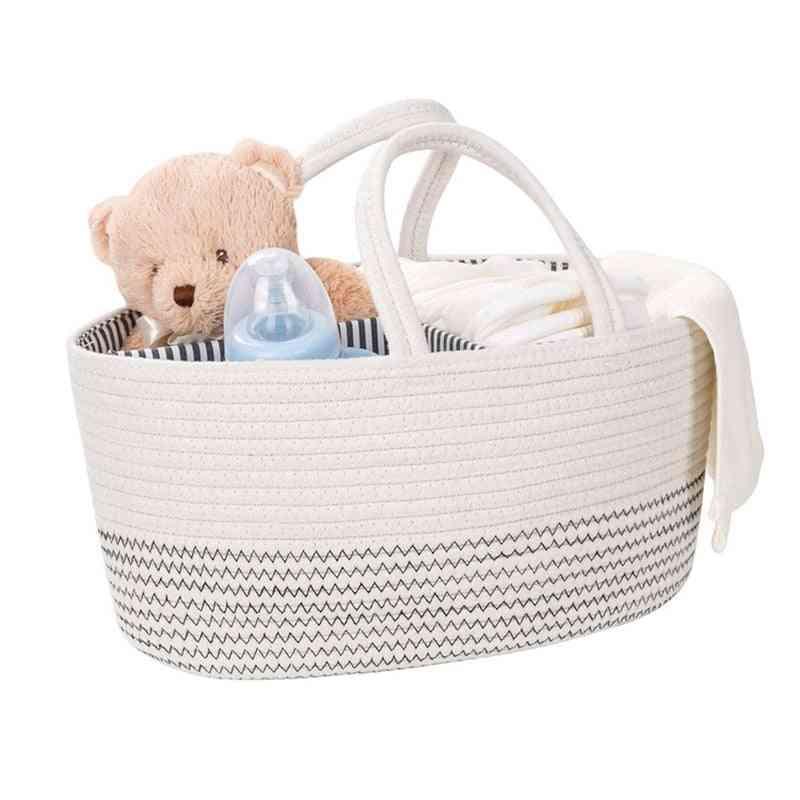 Foldable, Multi-slots Nursery Essential Organiser Rope Basket